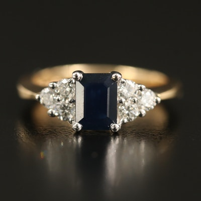 EFFY 1.00 CT Sapphire and Diamond Ring with Trellis Setting