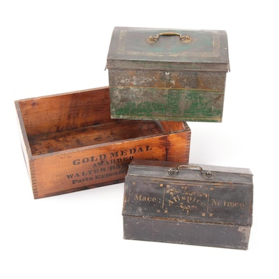 Wooden Walter Baker and Co Breakfast Cocoa Box with Toleware Spice and Cash Box
