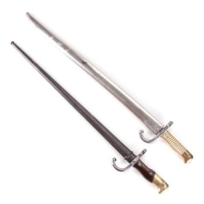 French M1874 Gras and M1866 Chassepot Bayonets, Late 19th Century