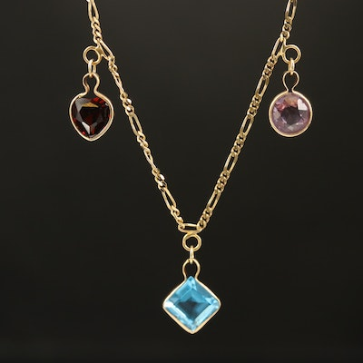 14K Multicolor Gemstone Station Necklace