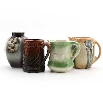 Rockingham Glazed and Other Ceramic Pitchers and Vase, Late 19th/ Early 20th C.