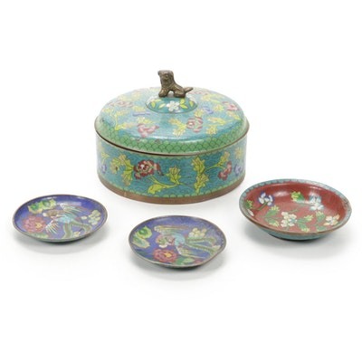 Chinese Cloisonné Lidded Jar and Plates