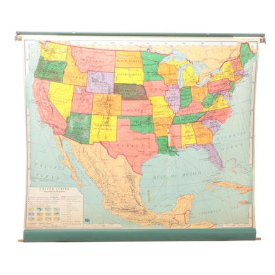 """Nystrom Pull-Down Map of the United States """"Simplified Political WF 1,"""" 1964"""