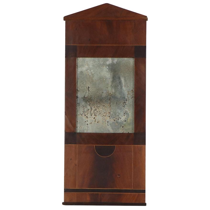 Biedermeier Mahogany and Ebonized String-Inlaid Wall Mirror, 19th Century