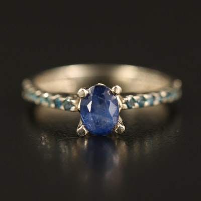 14K Sapphire Cathedral Ring with Diamond Shoulders
