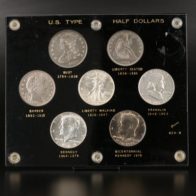 High-Grade U.S. Half Dollar Type Set, Including 1876-CC Silver Half Dollar