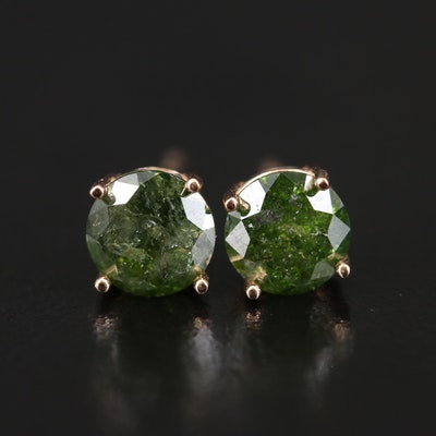 14K 1.50 CTW Green Diamond Stud Earrings