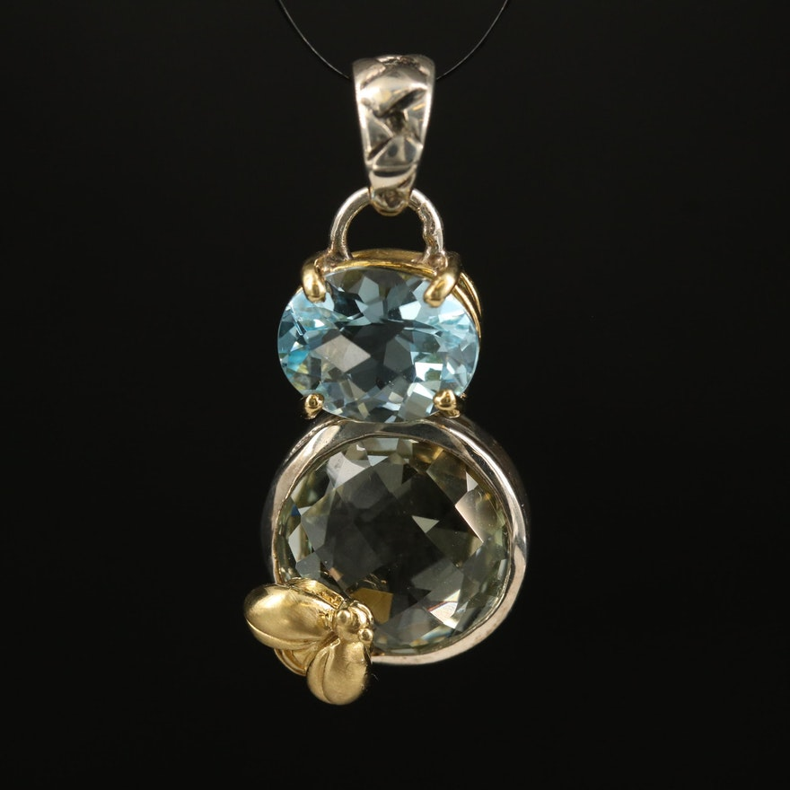 """Saint By Sarah Jane """"Dancing Bee"""" Sterling Gemstone Pendant with 18K Accents"""