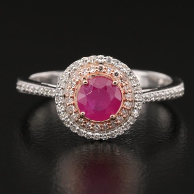 EFFY 14K Ruby and Diamond Double Halo Ring with Rose Gold Accent