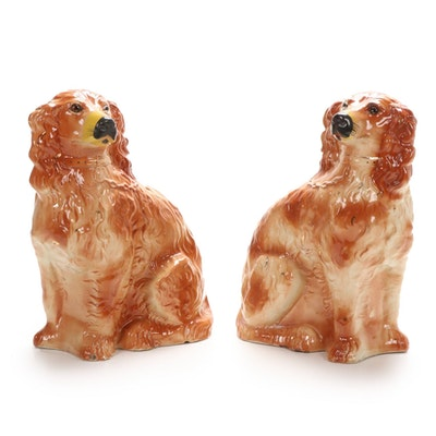 Pair of Staffordshire Style Ceramic Dogs with Glass Eyes, Mid-Late 20th Century