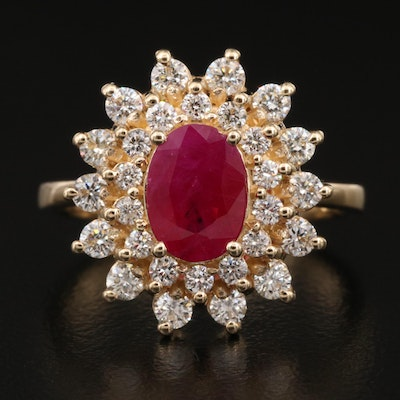 EFFY 14K 1.42 CT Ruby and Diamond Double Halo Ring