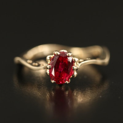 14K Ruby Solitaire Ring with Contoured Shank