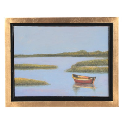 Sulmaz H. Radvand Landscape Oil Painting of Lake Scene with Boat