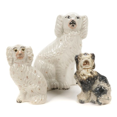 Staffordshire Ceramic Dog Figurines, Late 19th to Early 20th Century
