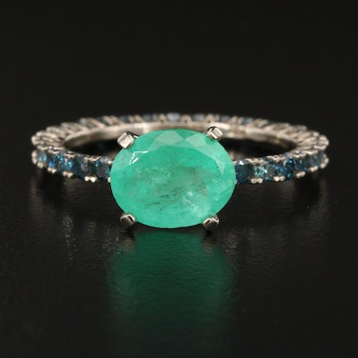 14K 1.74 CT Emerald East to West Ring with Blue Diamond Eternity Shank