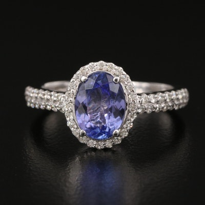 EFFY 14K 1.45 CT Tanzanite and Diamond Halo Ring