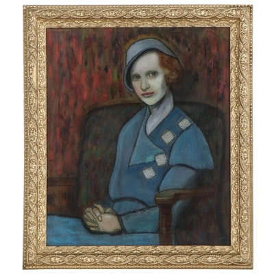 Mixed Media Portrait Painting of a Seated Woman