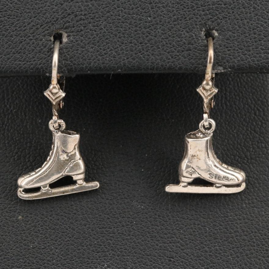 Sterling Ice Skate Earrings