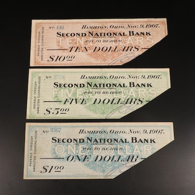 1907 Second National Bank of Hamilton, Ohio $1, $5, and $10 Notes