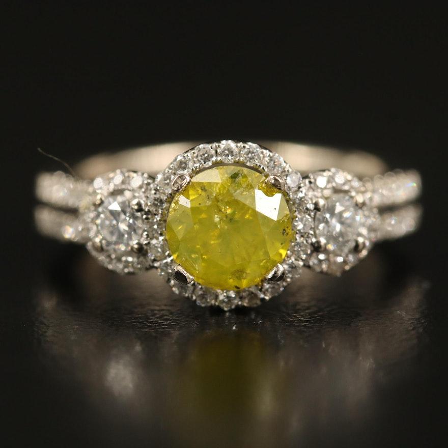 18K 1.52 CTW Diamond Ring with Split Shoulders