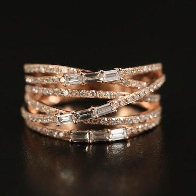 EFFY 14K Rose Gold Diamond Criss Cross Ring