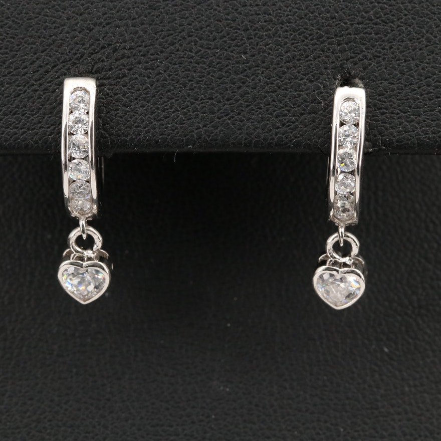 Cubic Zirconia Hoop Earrings with Heart Charms