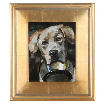 "Adam Deda Oil Painting of Dog ""White Lab,"" 2020"