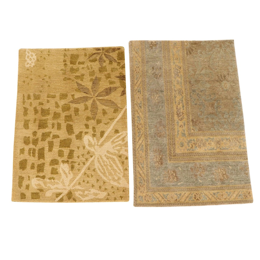 2' x 2'10 Hand-Knotted Nepalese Wool Accent Rugs from The Rug Gallery