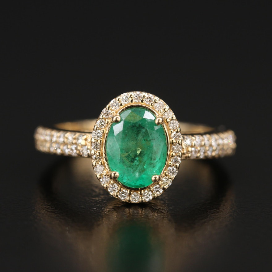 EFFY 14K 1.14 CT Emerald and Diamond Halo Ring