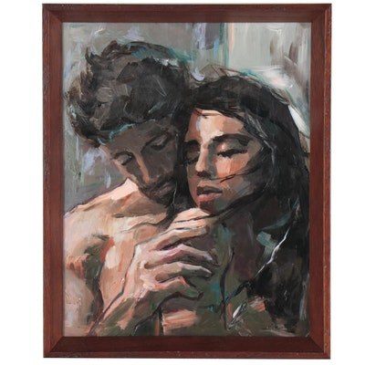 Adam Deda Figural Oil Painting of Man Embracing Woman, 21st Century