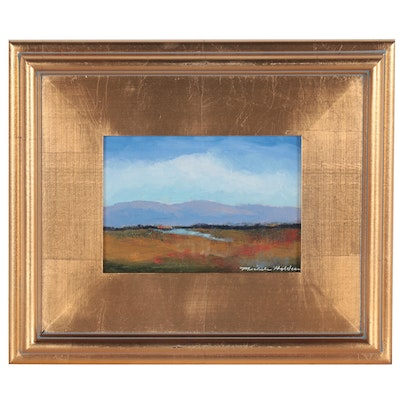 Michele Helders Landscape Oil Painting of Meadow and Rolling Hills