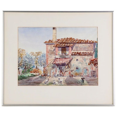 E. Muriel Fisher Watercolor Painting of Southwestern Farmyard with Chickens