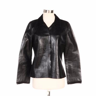 Rozae Nichols Black Leather Mesh Trim Jacket