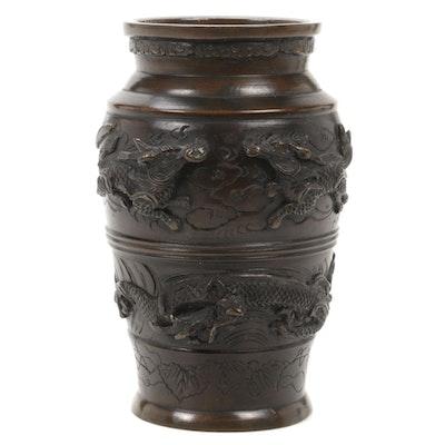 Japansese Cast Bronze Dragon in Clouds Vase