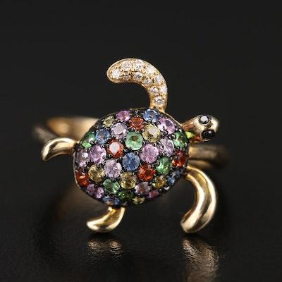 EFFY 14K Multicolored Tsavorite and Diamond Turtle Ring