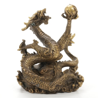 Chinese Gilt Bronze Feng Shui Dragon Statue