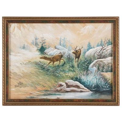 W. Schier Wild Life Gouache Painting, 1911