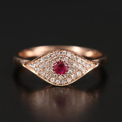 EFFY 14K Rose Gold Ruby and Diamond Evil Eye Band