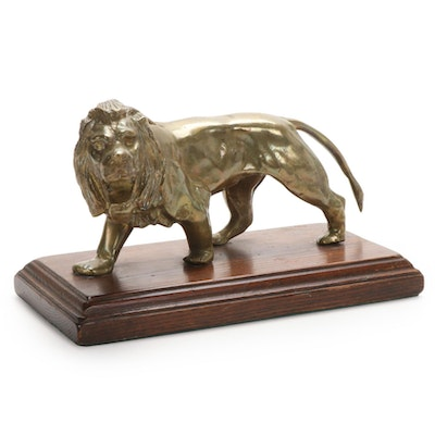 Gilt Cast Metal Lion Figurine on Wood Base, Mid to Late 20th Century