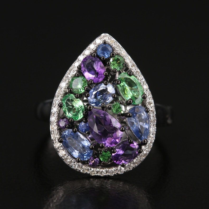 EFFY 14K Amethyst, Sapphire, Tsavorite Ring with Diamond Halo
