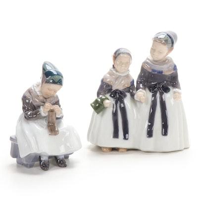 Royal Copenhagen Amager Girls Figurines, Mid-20th Century