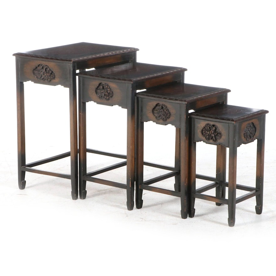 Set of Chinese Relief-Carved Hardwood Quartetto Tables