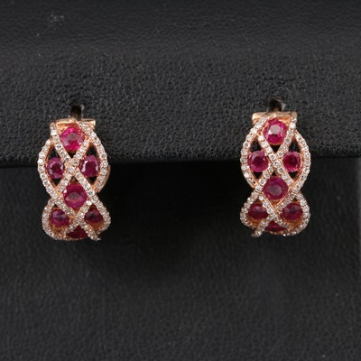 EFFY 14K Rose Gold Ruby and Diamond Huggie Earrings