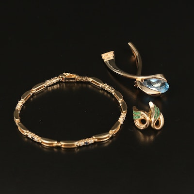 Topaz and Cubic Zirconia Openwork Bracelet, Stud Earrings and Ribbon Brooch