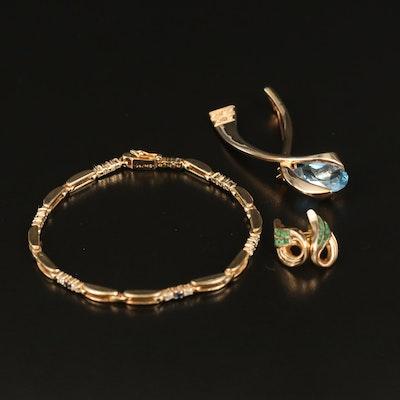Topaz and Cubic Zirconia Openwork Bracelet, Stud Earrings and Ribbon Brooch
