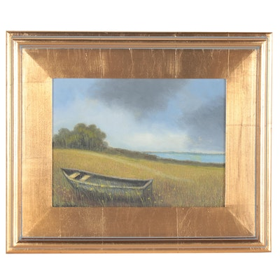 Sulmaz H. Radvand Oil Painting of Boat in a Field