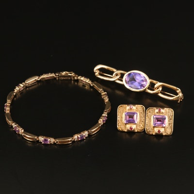 Sapphire Square Earrings, Cable Brooch and Openwork Bracelet