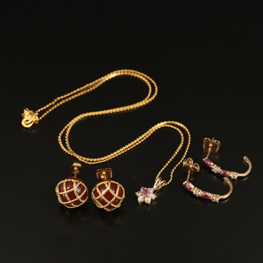 Necklace and Earrings Including Sapphire and Cubic Zirconia