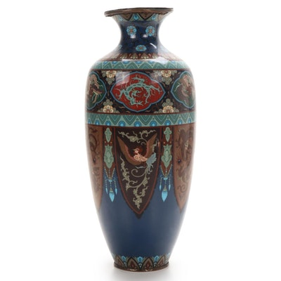 Chinese Cloisonné Enamel Vase with Dragon and Phoenix Motifs