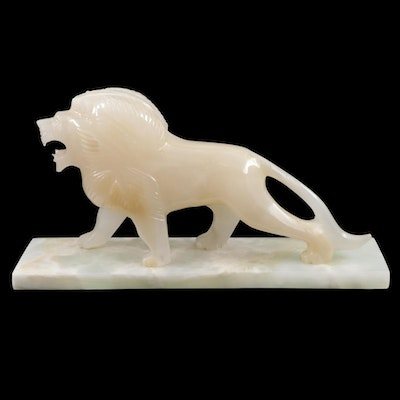 Carved Onyx Lion Figurine